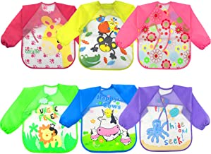 WXBOOM 6pcs Baby Waterproof Sleeved Bib Apron Kids Smock for 1-3 Years Old Infants