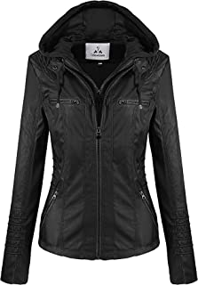 Showlovein Women Hooded Faux Leather Jacket Hat Detachable Motorcycle Jacket