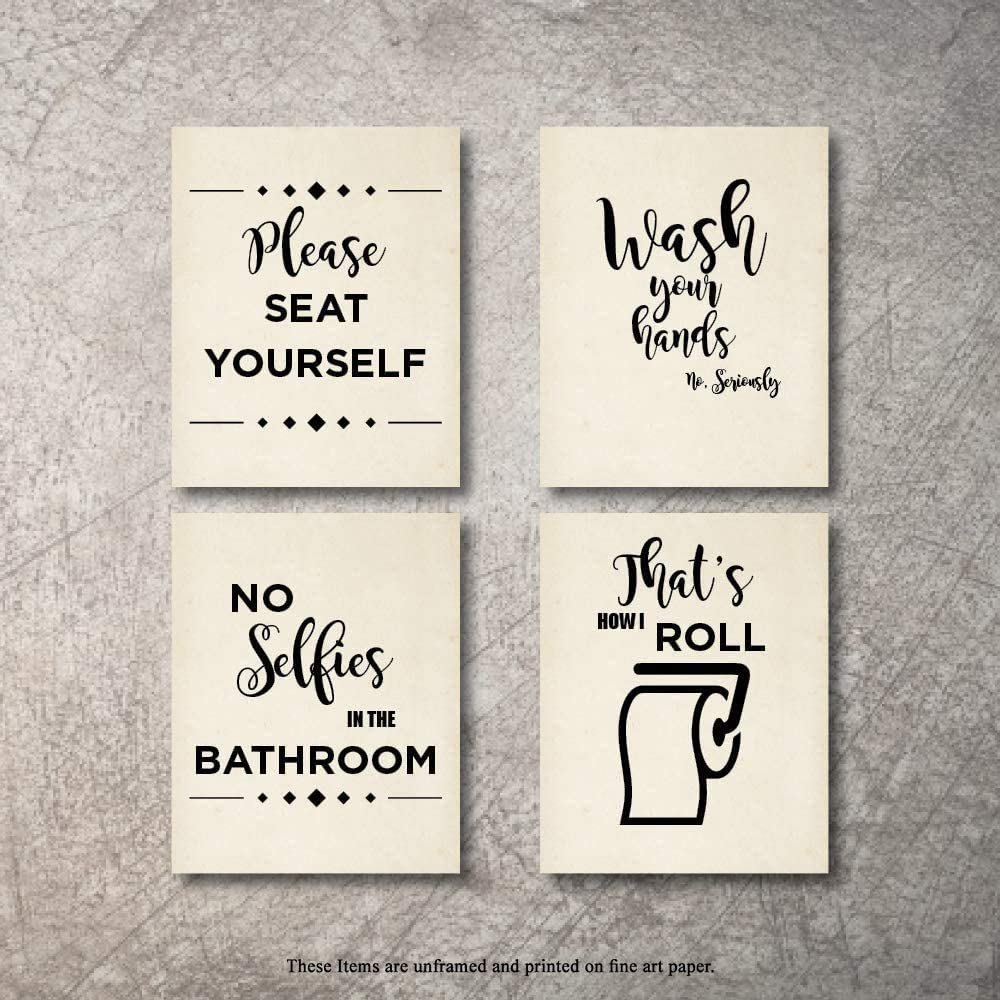 Amazon Com Bathroom Decor Wall Art 4 Prints No Selfies In Bathroom Signs Set Not Framed Funny Artwork Decoration Pictures For Bath Home Farmhouse Country Fun Rustic Bathrooms Quotes Decore Cute Decor