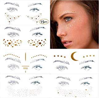11 Different Styles Face Tattoo Sticker, Freckle Sticker, Face Metallic Temporary Tattoo Water Transfer Tattoo for Professional Make up Dancer Costume Parties