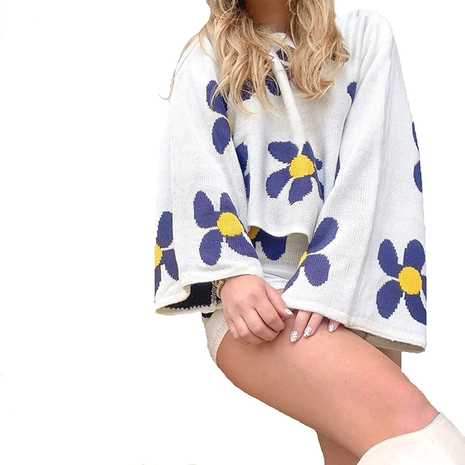 Knitted Set for Women Shorts Sweatsuit Long Sleeve Top and Shorts Pant Set Color Flower Pattern Tracksuits