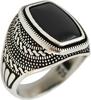 خاتم صلب من الفضة الاسترليني عيار 925 مجوهرات العقيق للرجال