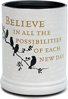 Elanze Designs Birds on a Tree Grey Believe Ceramic Stoneware Electric Large Jar Candle Warmer