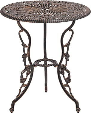 Grepatio 3 Piece All Weather Cast Aluminum Dining Set - 2 Lattice Weave Chairs, 1 Bistro Table with Umbrella Hole -Outdoor Fu