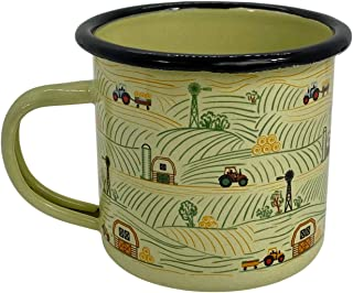 Enamel Camping Cup Custom Tomboy Original Pattern On The Farm Mug
