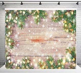 X Fotografía Fondo Telones de Fondo 7x5 pies Verde Abeto Punto de Oro Copo de Nieve Fondos de Fotos Navidad Vintage Suelo de Madera Recién Nacido Telones de Fondo de Vacaciones para sesión de Fotos