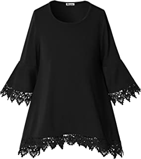 Mirawise Girls Tunic Tops Cold Shoulder Lace Loose Soft Blouse T Shirt for 4-13Y Long/Short Sleeve