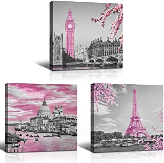 Wall Art Gray Pink Famous Painting Building Artwork Prints Wall Decor Canvas Wooden Framed 3 pieces set, each panel size 1...