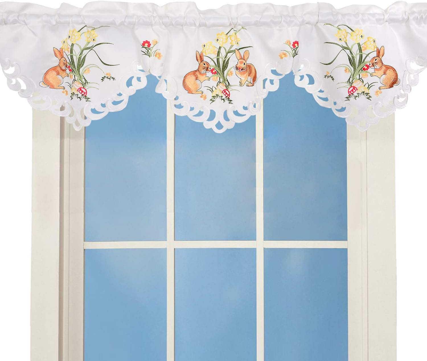 Burlap Window Valance in  white or ivory color 14 inches tall /& custom width with hand embroidered hem in custom color 64/'/' to 92/'/' width