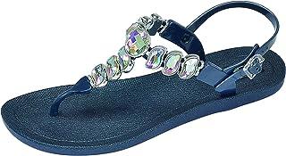 Women's Wave T-Strap Beaded Flip Flop Sandals 28525 (Navy Blue, Numeric_10)