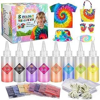 Emooqi Tie Dye Kit, Textiles de Tela 8 Piezas Colores Vibrantes Adecuado para Arte de Bricolaje Tie-Dye para Niños y Adult...