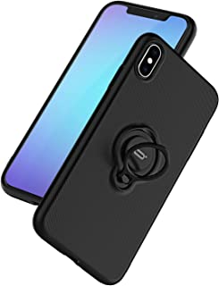 DESOF ICONFLANG for iPhone Xs/X Case, Ultra-Slim iPhone Xs Case with Ring Holder Stand Compatible Magnetic Car Mount Cover Case for Apple iPhone Xs (2018) iPhone X (2017) 5.8 inch - Black