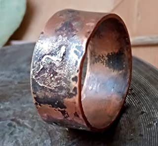 Handmade Mens Copper with Silver Ring Band Engraved Personalized Ring for Men