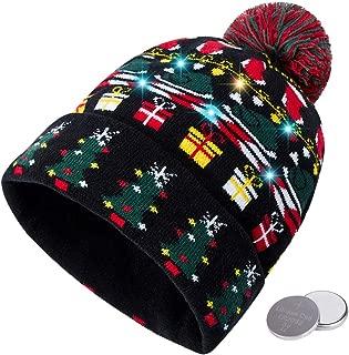 Unisex Ugly LED Christmas Hat Novelty Colorful Light-up Stylish Knitted Sweater Xmas Party Beanie Cap(6 Lights)