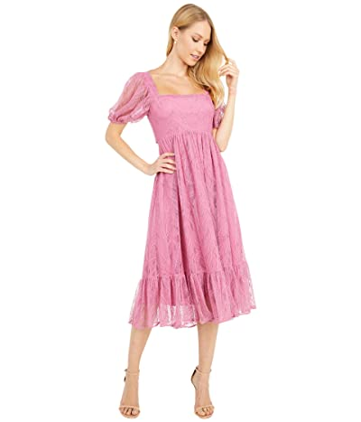 WAYF Lucca Midi Short Sleeve Gathered Dress (Magenta Lace) Women