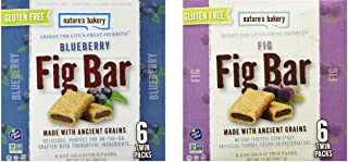 Nature's Bakery Gluten-Free Fig Bar Cookies Made with Ancient Grains 2 Flavor Variety Bundle, 1 each: Blueberry, and Original (12 ounces)