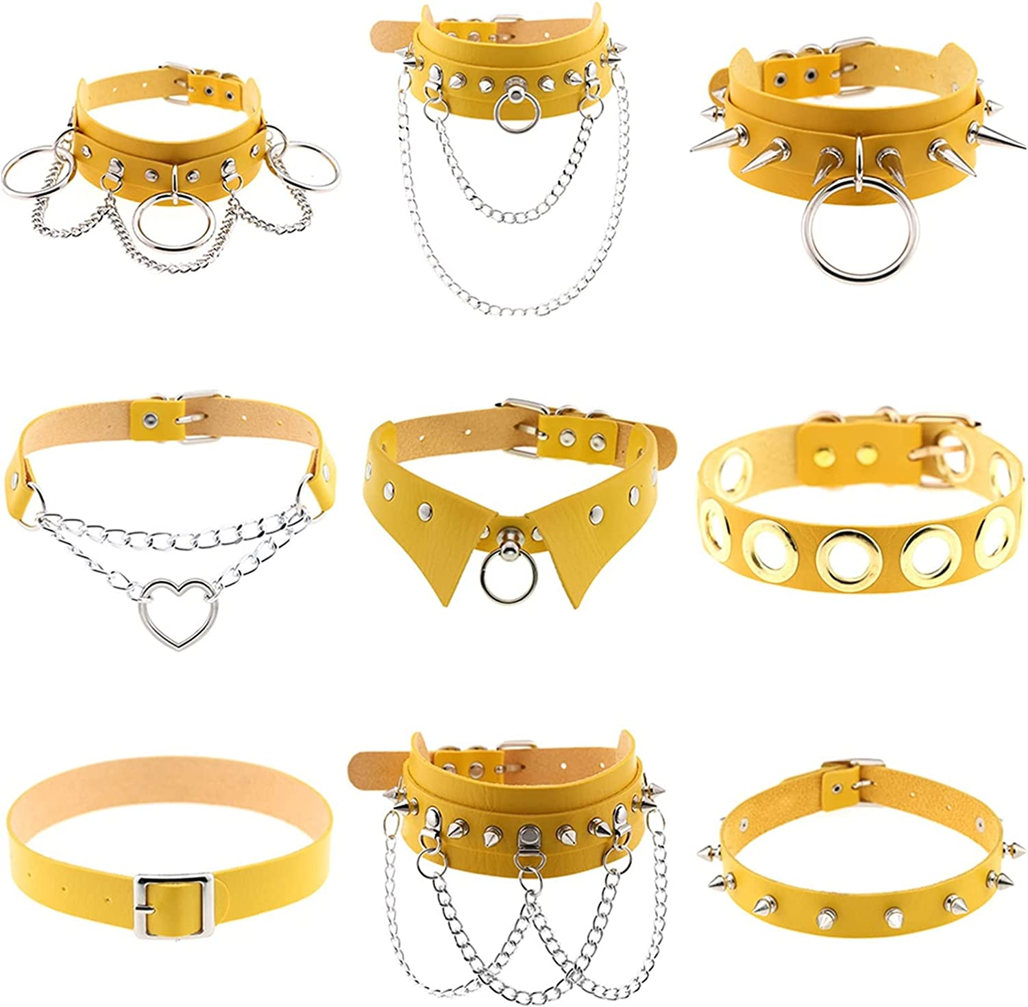 Harajuku Love-Shaped Choker Necklaces for Women Men Fashion Leather Sexy Collar Cool Neck Clavicle Chains Gothic Goth Jewelry (Metal Color : GTN06-YY)