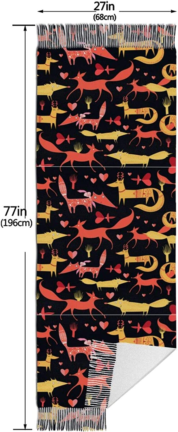 Foxes Love Cashmere Feel Scarf Lightweight Soft Scarfs For Boys Girls Creative Warm Cold Weather Blanket Scarf