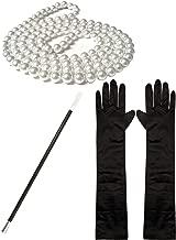 1920s Fancy Dress Charleston Flapper Pearl Beads Cigarette Holder Long Black Satin Gloves Set (Manchester Fancy Dress)