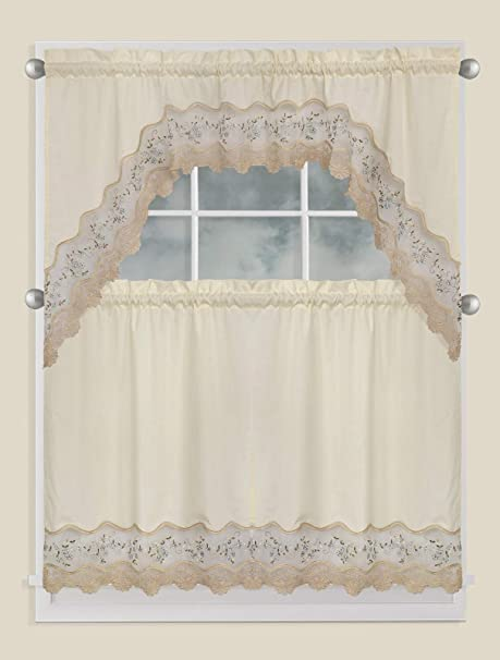 Amazon Com Fancy Collection 3pc Embroidery Floral Kitchen Cafe Curtain Tier And Valance Set 1092 Beige Green Home Kitchen