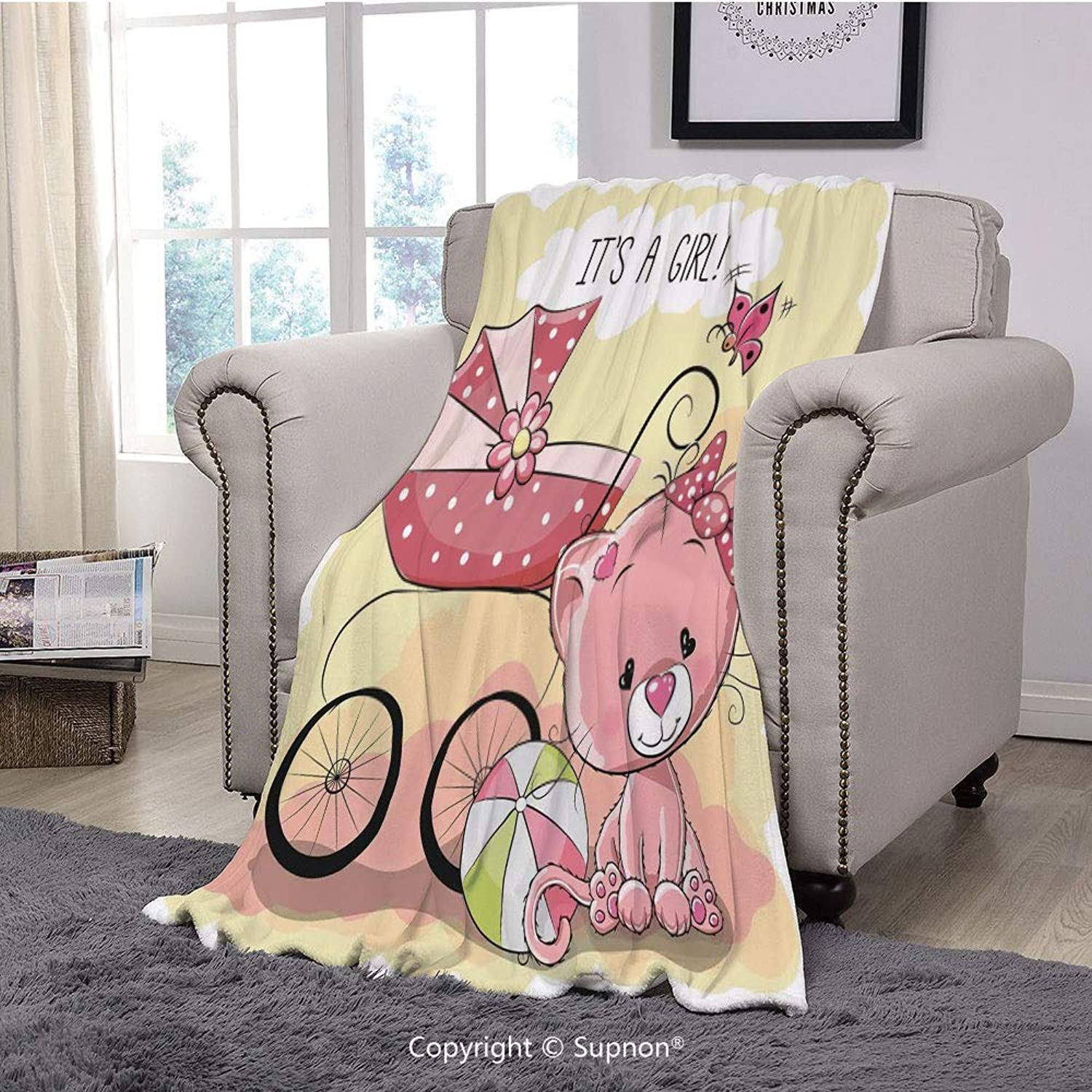 BeeMeng Throw Blanket Super Soft Fuzzy Light Blanket,Gender Reveal Decorations,Cute Kitten Baby Carriage Cat Kids Its A Girl Family,Light Yellow Pink(51  x 51 )
