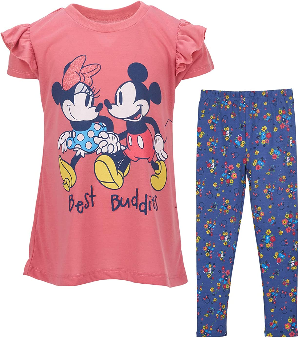 Disney Minnie Mouse Toddler Girls Short Sleeve Tunic Shirt /& Legging Set