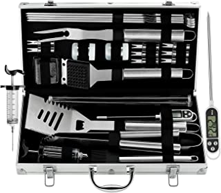 grilljoy BBQ Grill Tool Set, 25pcs Stainless Steel BBQ Accessories in Storage Case, Premium Complete Christmas and Outdoor BBQ Utensil Set