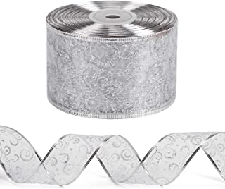 LaRibbons Wired Christmas Holiday Ribbon - Silver Swirl Sheer Glitter Ribbon - 2.5 inch x 25 Yard Each Roll - Silver Wired Edge