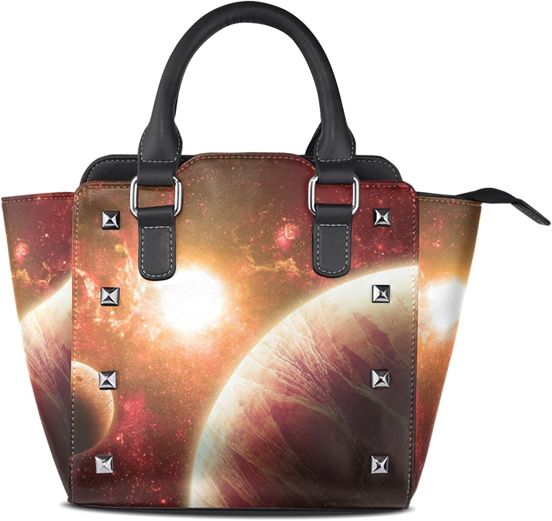 My Little Nest Women's Top Handle Satchel Handbag Planet and Star Ladies PU Leather Shoulder Bag Crossbody Bag