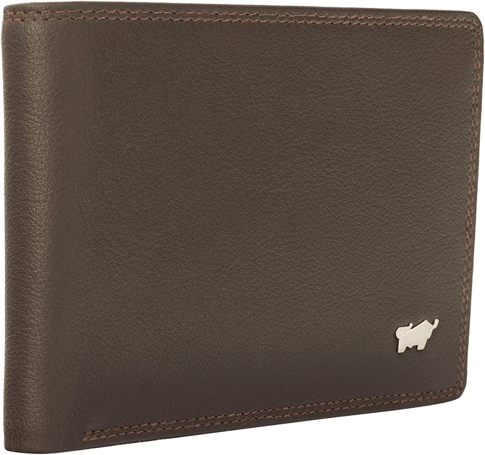 Braun bÜffel porta carte di credito portafoglio per uomo in pelle marrone