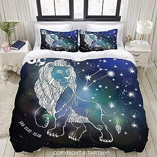 TARTINY Duvet Cover Set, Leo Zodiac signlion Horoscope Constellation Stars Vector Abstract, Decorative 3 Piece Bedding Set with 2 Pillow Shams