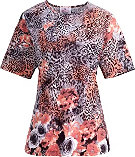 Silverts Disabled Elderly Needs Adaptive T Shirt for Women Handicapped Clothing for Women - Rose Leopard XL