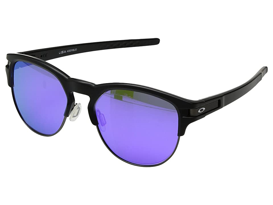 Oakley Latch Key L (55) (Matte Black w/ Violet Iridium) Athletic Performance Sport Sunglasses