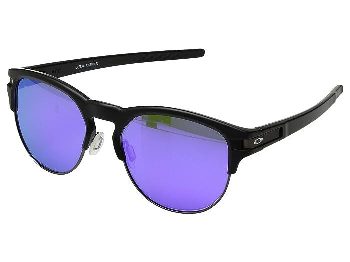 Oakley Latch Key L (55) (Matte Black w/ Violet Iridium) Athletic Performance Sport Sunglasses