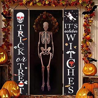 Litake Halloween Door Banner Decoration Trick or Treat It's October Witches Halloween Porch Sign Banner Outdoor Halloween ...