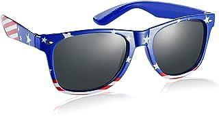Komonee États Unis Drapeau Bleu Drifter Style Des lunettes de soleil UV400 Protection Unisexe