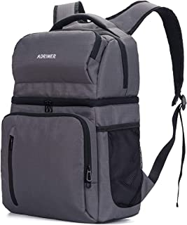 ADRIMER Insulated Backpack Cooler Leakproof Double Decker Backpack with Cooler Large Soft Lunch Cooler Bag with Anti-Theft Pocket for Men Women to Picnics, Travel, Hiking, Fishing, Beach Trip