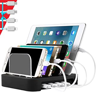 NEXGADGET USB Charging Station, 4-in-1 Detachable Universal 24W Desktop Charging Stand Multiple Devices Charger for Cell Phones/Tablets/Other USB Devices(4 Cables Included)