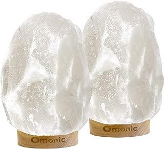 Omonic 2 Pack White Himalayan Salt Lamp Night Light Lights Crystal Hand Carved Hymalain Rock Table Lamps(5-8 lbs,6.5-10