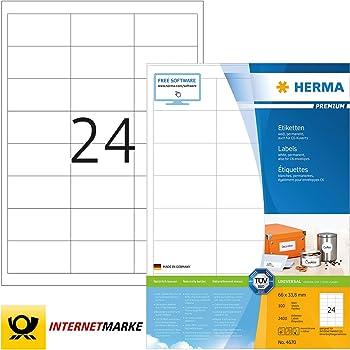 HERMA Tiefk/ühletiketten wei/ß 66x33,8mm Special A4 VE=600 St/ück
