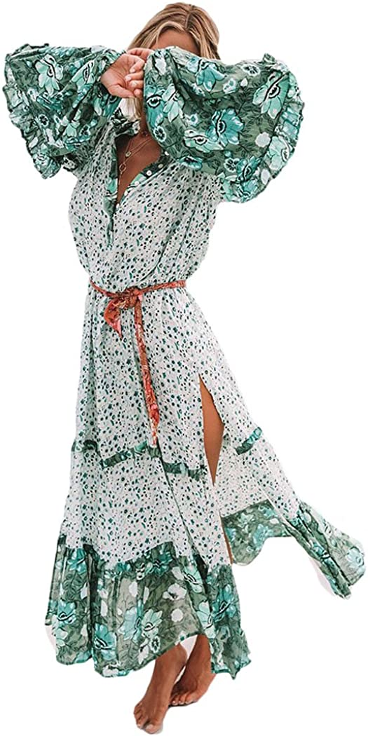 HOTLOOX Womens Floral Print V Neck Long Sleeve Dress Bohemian Pleated Vintage Flare Dresses for Party S-XXL