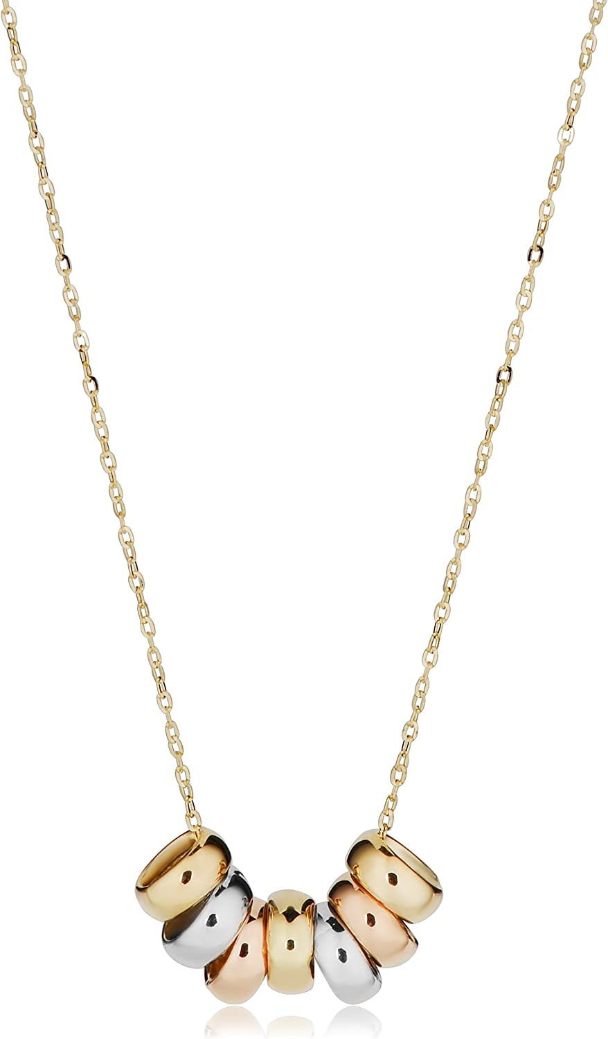 KoolJewelry 10k Tricolor Gold Seven Lucky Rings Necklace Minimalist Jewelry (adjusts to 17 or 18 inch)