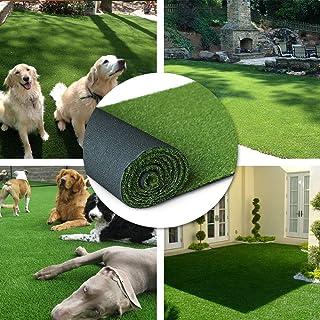 H-Bedding リアル人工芝 ロール マット芝丈20mm (幅1m×長さ4m) 耐久性強い 4種のMIX葉 (長さ4m/6m/10mサイズ選択可) ナチュラルグリーン 春色 庭 ガーデン ベランダ バルコニー 屋上 テラス 玄関適用