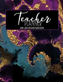 Teacher Planner 2019 - 2020 Lesson Planner: Turquoise Blue Purple Faux Gold Agate Marble Geode Weekly Lesson Plan   School Education Academic Planner ... Gift (Teacher Lesson Planners 2019-2020)