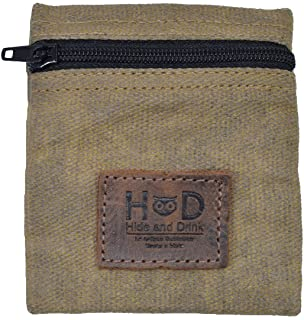 Waxed Canvas Condom Pouch/Change Valuables Tech Pocket Purse Handmade by Hide & Drink :: Fatigue