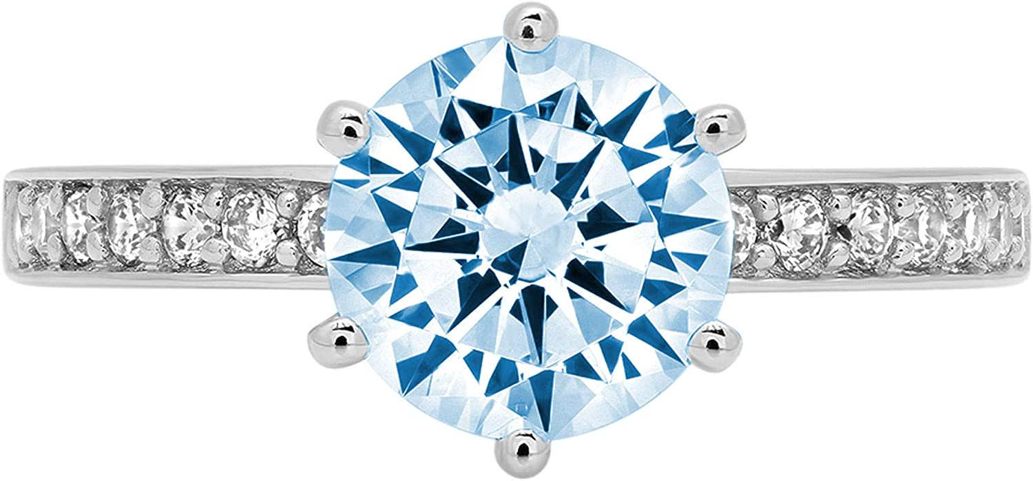 1.96ct Brilliant Round Cut Solitaire Genuine Flawless Blue Simulated Diamond Gemstone Engagement Promise Anniversary Bridal Wedding Accent Ring Solid 18K White Gold