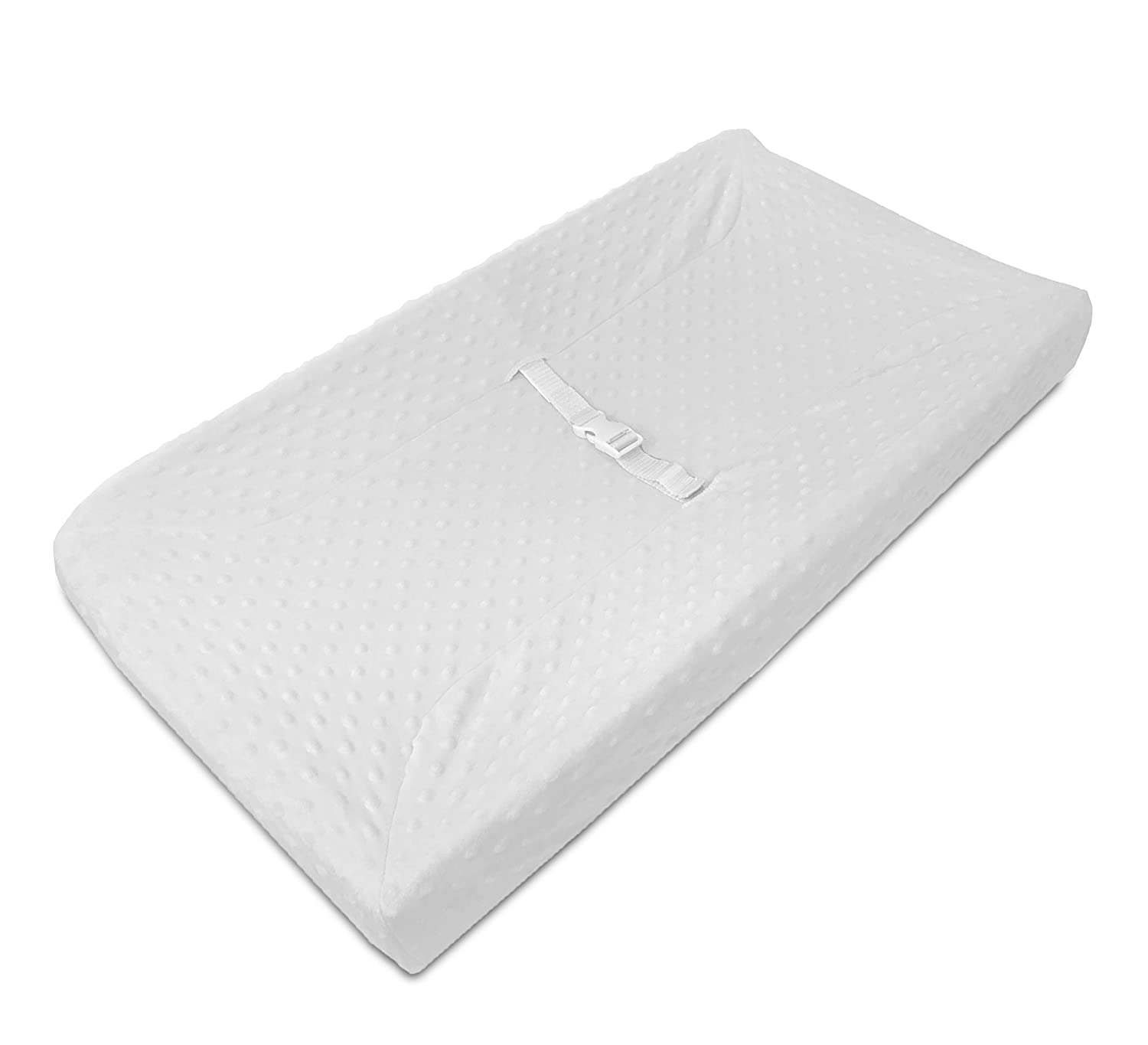 TL Care Heavenly Soft Minky Dot Fitted Contoured Changing Pad Cover, White Puff, for Boys & Girls