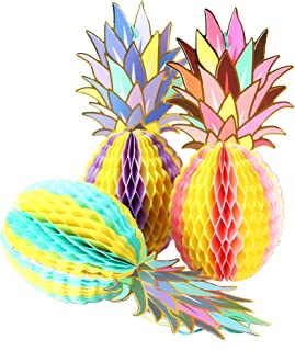 paper jazz Paper Pineapple Honeycomb Centerpieces Table and Hanging Decorations for Hawaiian Luau Tiki Beach Wedding Tropical Fruit Summer Party, Multicolored (3 Pack)