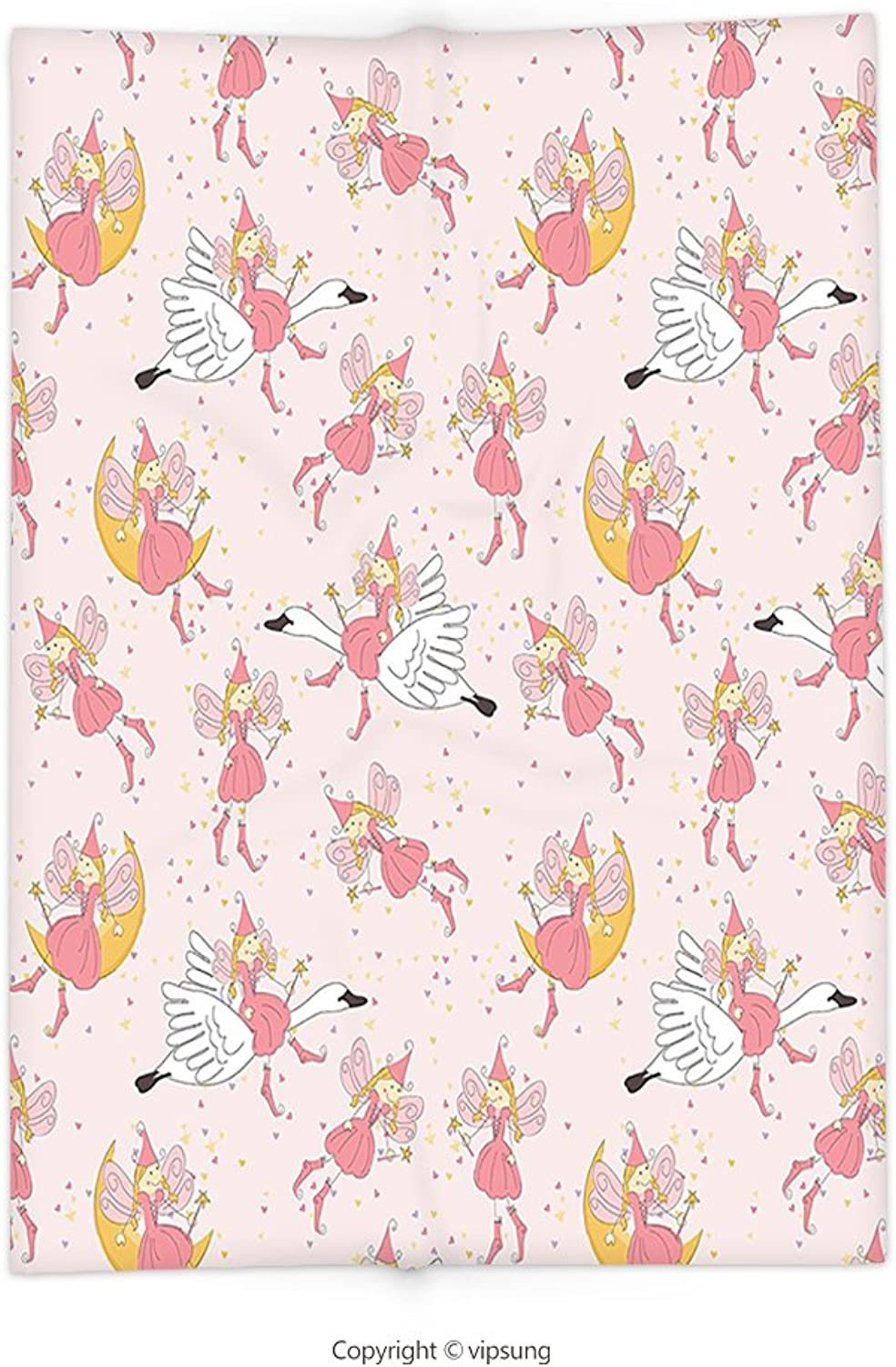 Vipsung Throw Blanket with Girls Decor Pattern with Flying Fairies Setting On Moon Riding Swan Magical Stick Happy Decor Super Soft and Cozy Fleece Blanket
