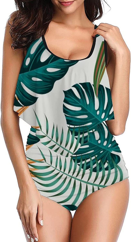 PotteLove Womens Tropical Plants-32 Swimsuits Design Tankini top with High Waist Bottom Bikinis Set Two Piece Bathing Suit